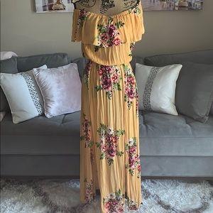 EXIST off the shoulder floral BOHO dress